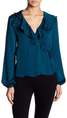 Image of June & Hudson Ruffled Surplice Blouse Fashion Wear, Fashion Looks, Kebaya Dress, Modelos Plus Size, Fifties Fashion, Blouse Styles, Cute Tops, Indian Wear, Work Casual