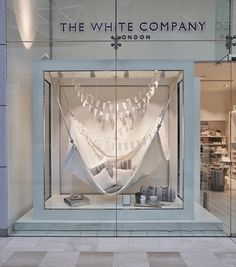 The hammocks are crafted from bleached canvas, and use white cotton rope to beautifully showcase the brand's Summer Living range of outdoor furnishings and gifts. The coordinating tepees created a sense of harmony with their sister company The Little White Company stores.