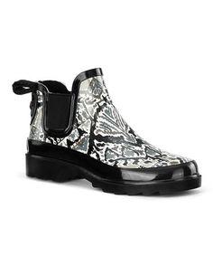 e90447e08 Look at this  zulilyfind! Jet Black  amp  White Rhyme Rain Boot  zulilyfinds