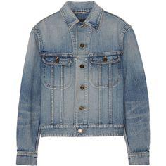 Saint LaurentStudded Denim Jacket (€1.825) ❤ liked on Polyvore featuring outerwear, jackets, mid denim, yves saint laurent, studded jean jacket, studded denim jacket, blue jean jacket and denim jacket