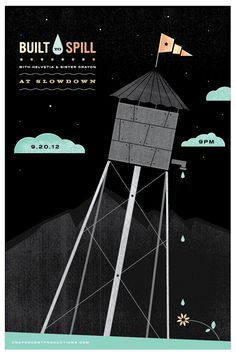 Built to Spill gigposter by Eric Downs of Grain & Mortar