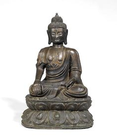 A large bronze figure of Buddha Ming Dynasty