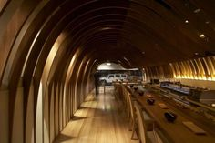 Wood Roof interior Design Cave Restaurant in Sydney by Koichi Takada Architects
