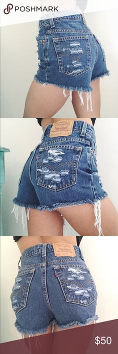 High-waisted Levi's 512 shorts Distressed vintage inspired high-waisted Levi's shorts. Size 5 juniors fits on a size 2 (24) women's Levi's Shorts Jean Shorts
