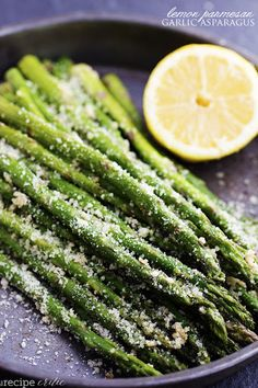 Roasted Lemon Parmesan Garlic Asparagus Recipe on Yummly. Healthy Side Dishes, Vegetable Side Dishes, Side Dish Recipes, Vegetable Recipes, Dishes Recipes, Kitchen Recipes, Parmesan Asparagus, Lemon Asparagus, Garlic Parmesan