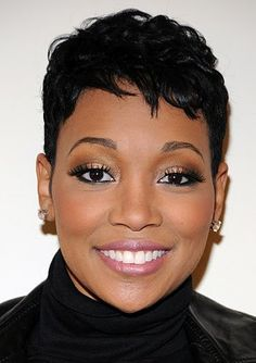 October 24 Happy birthday to Monica Brown Monica Hairstyles, Pixie Hairstyles, Pixie Haircut, Short Relaxed Hairstyles, Hairstyle Short, Curly Hair Styles, Natural Hair Styles, Sassy Hair, Short Hair Cuts
