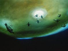水中のペンギン、南極 | ナショナルジオグラフィック日本版サイト            水中のペンギン、南極  氷に開いた穴の近くの海中を浮遊する南極のペンギンたち。遠隔操作方式の水中カメラで撮影。