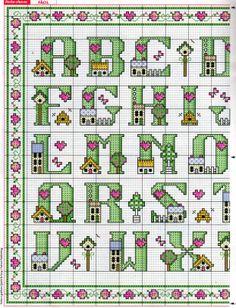 Cross-stitch Lil Homes ABCs, part 1, color chart on part 2...    Abecedario de casitas 1/2