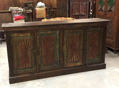 Antique Floral Carved Chest Red Green Chakra Sideboards Chest