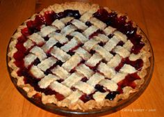 """Visions of Plums, Danced in Their Heads"" Christmas Pie with a whole-grain lattice crust~"