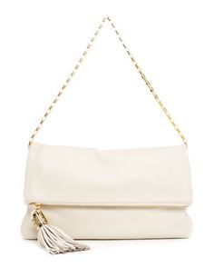 Michael Kors Large Tonne Pebbled Leather Fold-Over Clutch.