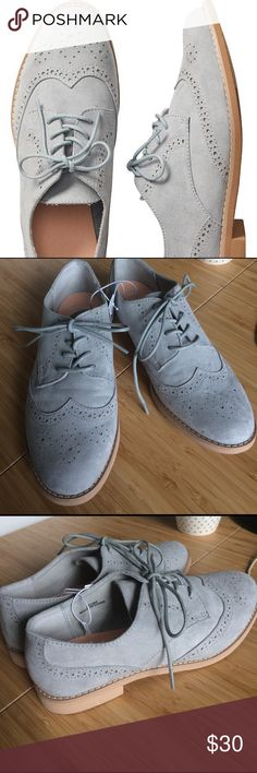 Gray Perforated Oxfords Faux suede Oxford flats with Perforated details. Lace up style with a small stacked heel. Brand new! GAP Shoes Flats & Loafers