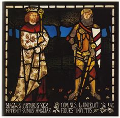 King Arthur and Lancelot stained glass