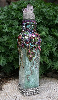 Mothers Day Crafts For Kids Discover Gorgeous Jeweled Encrusted Crystals Rhinestones Altered Bottle Swarovksi Crystals Raw Amethyst Finial Boho Modern Original Art Home Decor