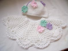 Crocheted Poncho and pull on hat - Crochet creation by Catherine