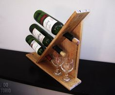 Wine rack for 3 bottles out of Pallet wood style