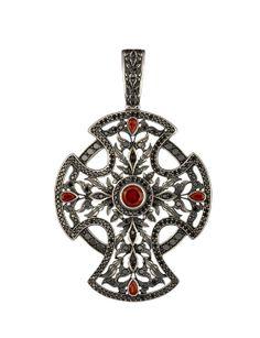 Axenoff    Georgia pendant in silver, black diamonds and garnet, price on demand