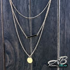 Casual three strands necklace 9K Yellow gold filled 3連カジュアルネックレス