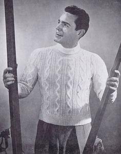 Men's Cabled Turtleneck PDF Vintage Knitting Pattern, c. 1959