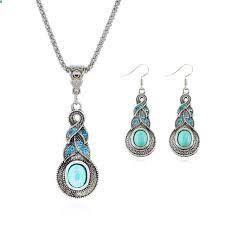 #TibetanTurquoisePendantNecklace Chain Silver Plated Water Drop Shaped Women Stud Earrings