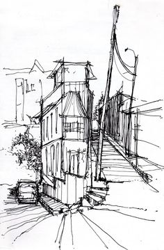 Legendary sketches and drawings of famous architects are here to inspire towards your own easy cool things to draw; Landscape Sketch, Landscape Drawings, Architecture Drawings, Building Drawing, Building Sketch, Ink Pen Drawings, Cool Drawings, Town Drawing, Cityscape Drawing
