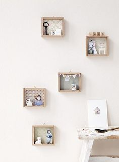 """kijkdoosjes"" - make the boxes yourself out of wood (cut to 15cm x 17cm) with a piece of thin wood or stiff cardboard for the back. Add wall paper and decorate with photo cutouts and other small items."