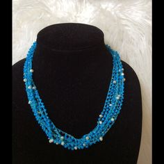 🔴🔴SALE‼️Beaded Necklace w/Pearl Accents You will look super chic in this statement necklace with multiple strands of aqua blue beads and faux pearl accents. Perfect with that spring or summer outfit. Dress it up or down. Great item to bundle! Jewelry Necklaces