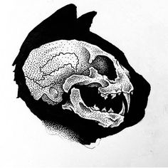 Tattoo idea cat skull poke