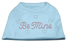 Mirage Pet Products 12-Inch Be Mine Rhinestone Print Shirt for Pets, Medium, Baby Blue