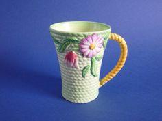 Carlton Ware Green 'Flowers and Basket' Cocoa Mug c1938