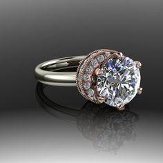 Forever Brilliant Moissanite and Diamond Modern Engagement Ring 2.79 CTW