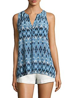 Joie Aruna Silk Ikat Sleeveless Blouse