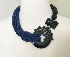 Fabulous Angela Caputi L'Orient Multi Strands Blue Necklace Resin Tiger/Dragon  in Jewelry & Watches, Fashion Jewelry, Necklaces & Pendants | eBay