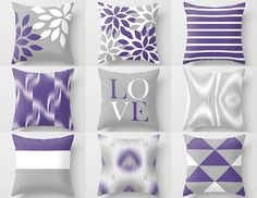 Throw Pillow Covers Ultra Violet Grey white Couch Cushion Cover Contemporary Home Decor Living Room Pillow Decorative Pillow Couch Cushion Covers, Couch Cushions, Throw Pillow Covers, Throw Pillows, Cushion Pillow, Pillow Set, Contemporary Couches, Contemporary Home Decor, Living Room Pillows