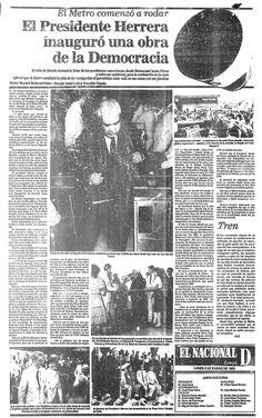 El Presidente Herrera inauguró una obra de la democracia. Publicado el 03 de enero de 1983.