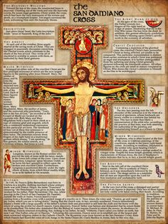 San Damiano Cross Explained Poster. A great way to learn about the rich symbolism and meaning behind this powerful and popular religious image.
