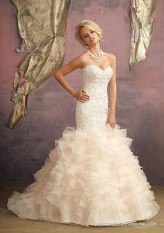 Ruffled Organza Crystal Embroidery Mermaid Strapless Sweetheart Wedding Dress
