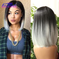 Cheap light dermatitis, Buy Quality light yaki full lace wig directly from China wig chignon Suppliers:  Ombre wig black gray white mix color brazilian malaysian women short Wig Tone Color Light Grey Straight short bob cospl