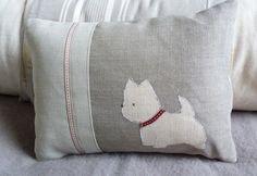 Hand printed west highland terrier cushion - £42.00 : Helkat Design, Hand Printed Originals - Made in Britain.