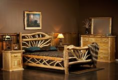 There are log beds, and then there are log beds with style and artistic beauty. Our Cedar Lake Bent Branch Rustic Log Bed is definitely one of the latter. Each branch is carefully placed for optimum artistic beauty and each bed is unique. Log Bedroom Furniture, Twig Furniture, Furniture Styles, Bedroom Decor, Antique Furniture, Furniture Ideas, Modern Furniture, Furniture Removal, Furniture Outlet