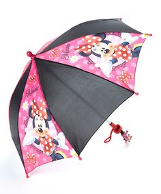 Loving this Black & Pink Minnie Mouse Bows Umbrella on #zulily! #zulilyfinds