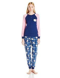 Hello Kitty Women s Lovely Dreamer Plaid Raglan Sleeve Pajama Set 45a74ff10