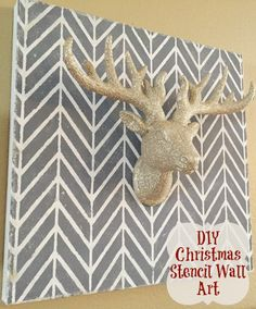 DIY Christmas and holiday canvas wall art using wall stencils from Royal Design Studio - via asparkleofgenius