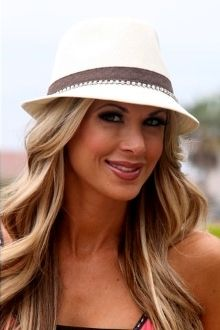 """The Alexis """"Fedorable"""" Fedora   Price: $55.00:  Brand new for Summer 2012!  Available in khaki and ivory. Embellished with a single row of Swarovski crystal chain."""