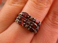 Vintage Marcasite Garnet Beaded Multi Marquise Sterling Silver 925 Ring