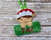 Personalizable Elf Boy Ornament ITH Embroidery Design