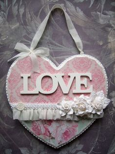 Shabby Chic OOAK Unique Hanging Heart, Wedding, Home Decor, Gift. £17.90