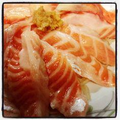 Salmon belly sashimi!! O-toro salmon!! Amazing!!!!!