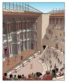 Provincial Romans enjoy the theater at Aquae Sextiae (Aix-En-Provence) Roman Architecture, Ancient Greek Architecture, Historical Architecture, Mosque Architecture, Ancient Rome, Ancient Greece, Ancient History, Architecture Romaine, Roman Theatre
