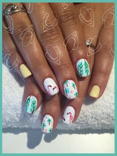 Flamingo Tropical Palm Summer Manicure